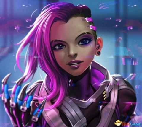 《守望先锋》新英雄黑影同人图 紫装美女很邓紫棋图片