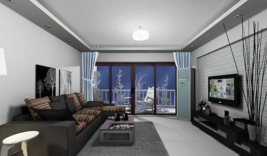 浅蓝色欧式沙发客厅图片