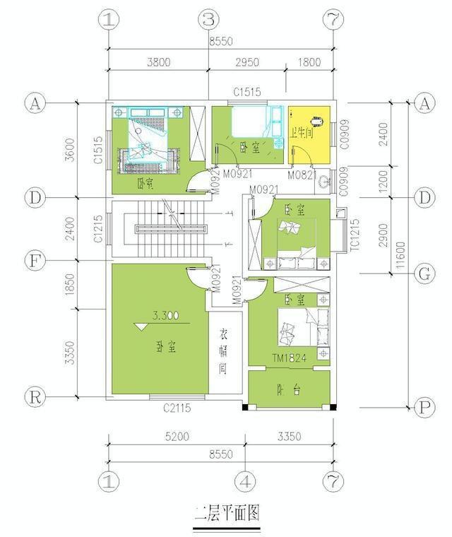 农村3层自建房经济户型 占地9米x11米 含平面图