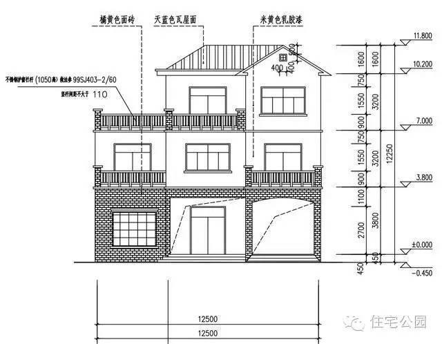 新农村自建房2层半 12米面宽 带车库露台含平面图