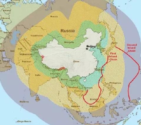 点击加载图片 封锁中国岛链示意图 这么做的目的是,在美国的支持下
