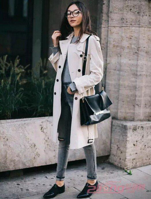 米色风衣+紧身小脚裤-女装风衣搭配小脚裤 让你大长腿穿出来