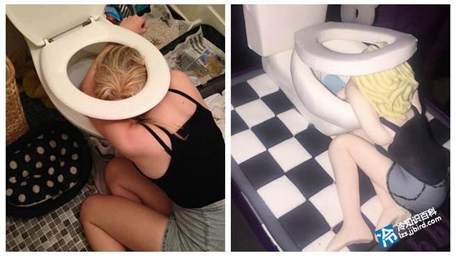 她和家人朋友一起吃饭时喝了太多酒,醉到快不省人事的她趴在马桶前,以