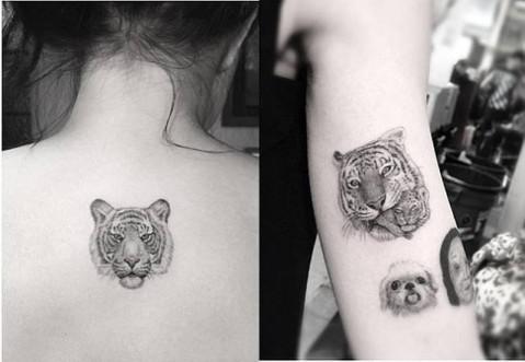 女生脚腕纹身图案花花分享展示图片