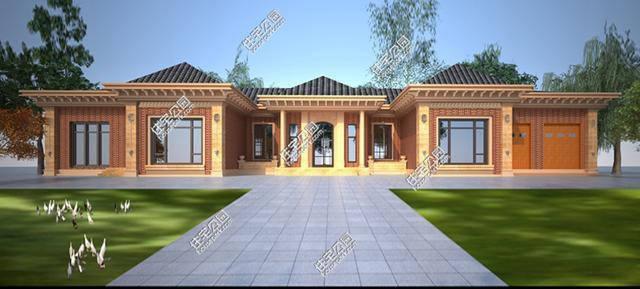 农村自建三层房屋斜屋面带有罗马柱设计图展示