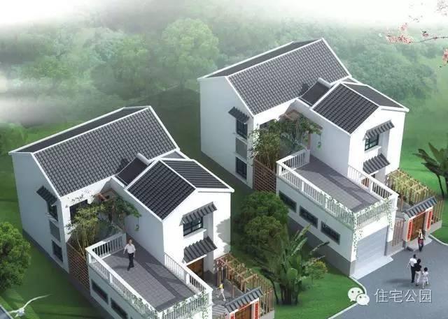 农村新中式自建房 8米x15米 带神位车位含平面图