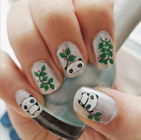 儿童可爱美甲 熊猫
