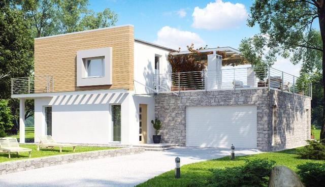 占地13x15米,2层的农家房布局,平屋顶设计,外立面采用真石漆 外墙挂板