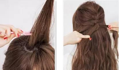 用电卷棒将头发烫卷,然后用手将烫过的卷发拉出蓬松