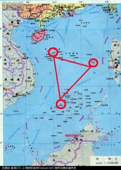 """点击加载图片 黄岩岛,永兴岛和永暑礁的三角形支点作用 围绕这三艘"""""""