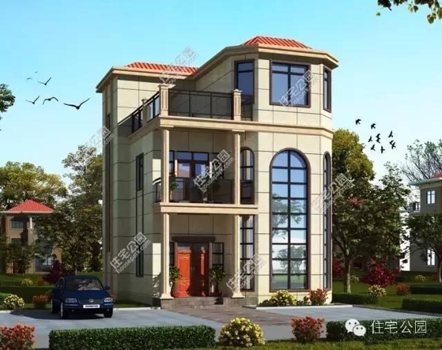 这套新农村3层自建房户型,其实算2层半,有双露台,挑高客厅,弧形转角