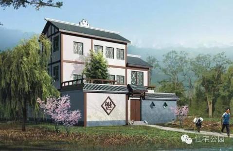 新农村实用自建房户型 12米x15米 带庭院车库 含图纸